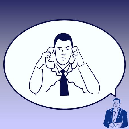 Multi-tasking. Business concept illustration. The man is concentrating on two telephones.