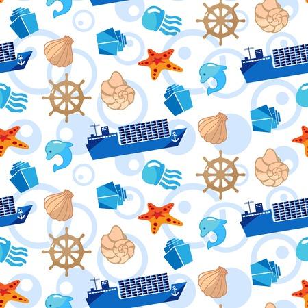 Pattern Cute Squid, Anchor, Shell, Medusa, Starfish Cartoon vector illustration. Illustration