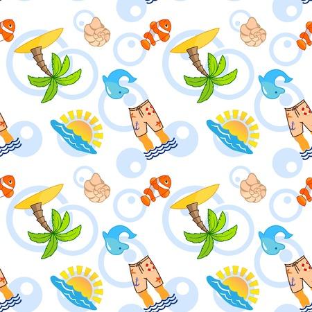 Pattern Cute Squid, Anchor, Shell, Medusa, Starfish Cartoon vector illustration