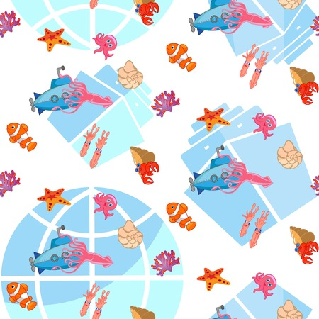 Ocean life theme pattern background