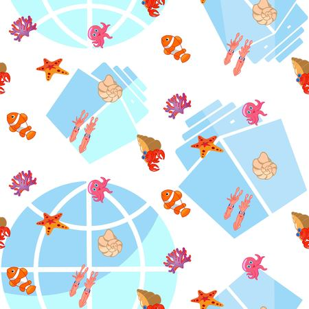 Pattern Cute Squid, Anchor, Shell, Medusa, Starfish Cartoon vector illustration