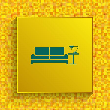 Home interior design icon, sofa icon, living room vector illustration.