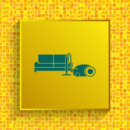 Cleaning company icon, wash apartments, office. Vacuum cleaner symbol, service sector.