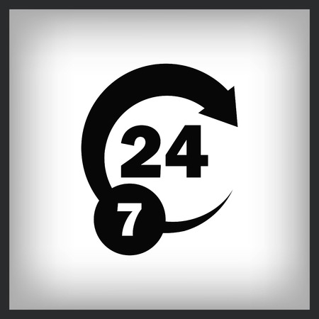 Open 24/7 icon with clock