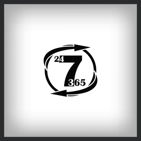 Open 24/7 icon with clock icon. Illustration