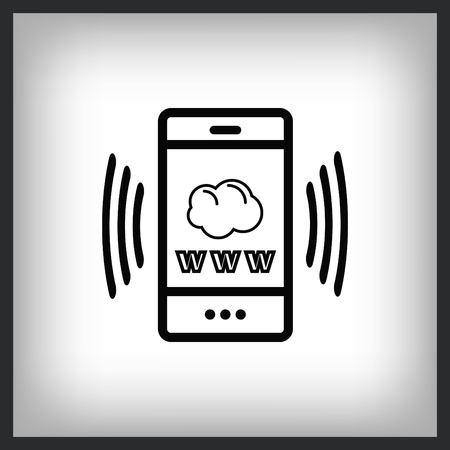 The handset phone icon, vector illustration.