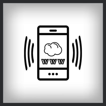 The handset phone icon, vector illustration.