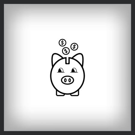 Money Icon with piggy bank and coins, vector illustration. Flat design style. Illustration
