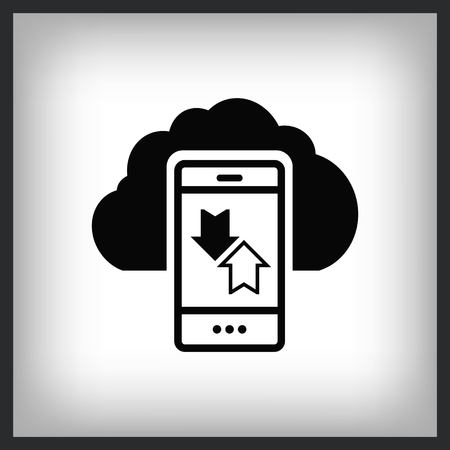 The handset or  phone icon with arrows and clouds , vector illustration.