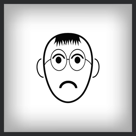 Angry little boy Icon in glasses.