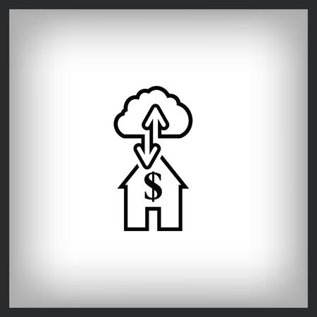 Financial Services Cloud, Money icon with house and cloud vector illustration. Flat design style  イラスト・ベクター素材