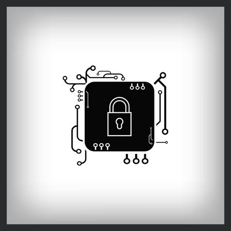 Lock in microchip for security icon