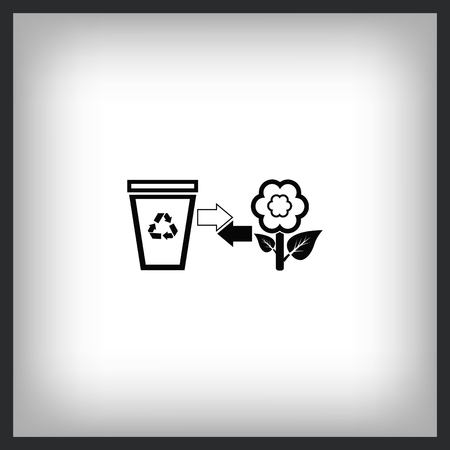 Recycle icon with trash and flower. Flat Vector illustration Çizim
