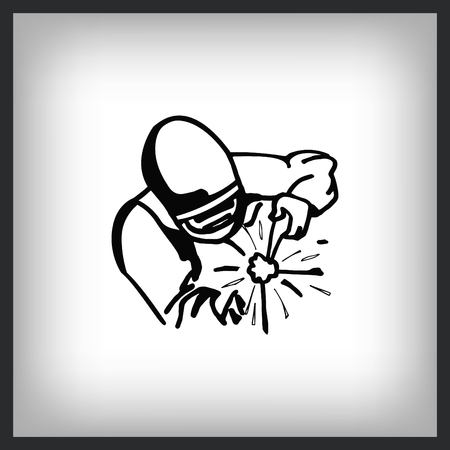 Silhouette of a worker welding with a torch icon. Vector illustration. Illustration