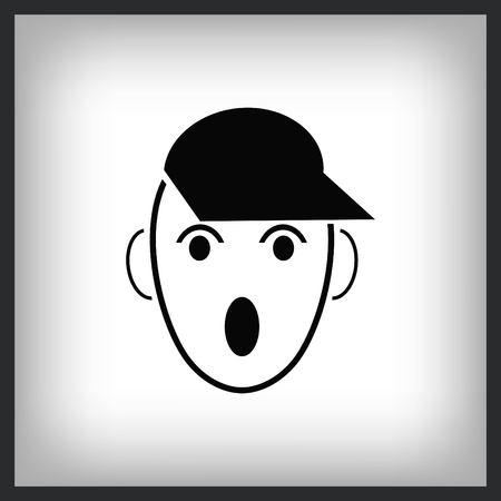 Surprised little boy Icon. Illustration