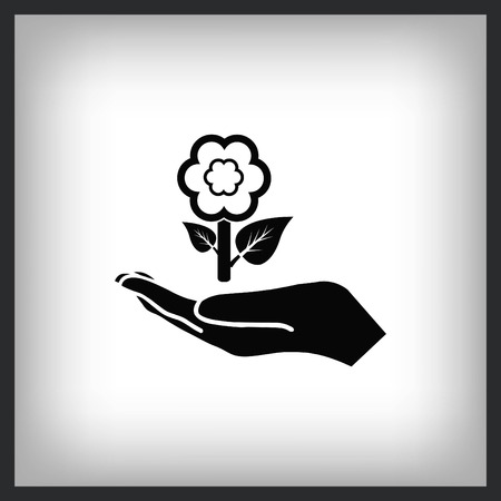 Hand with flower, recycle icon