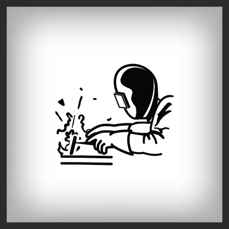 Silhouette of a worker welding with a torch icon. Vector illustration. 일러스트