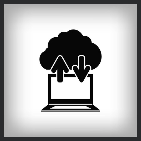 Technology innovation icon. Cloud technology, cloud hosting icon in laptop, vector illustration. Stock Illustratie