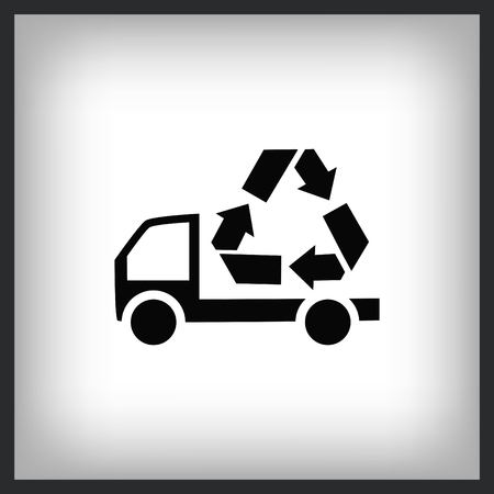 Truck with recycle icon. Flat Vector illustration Çizim