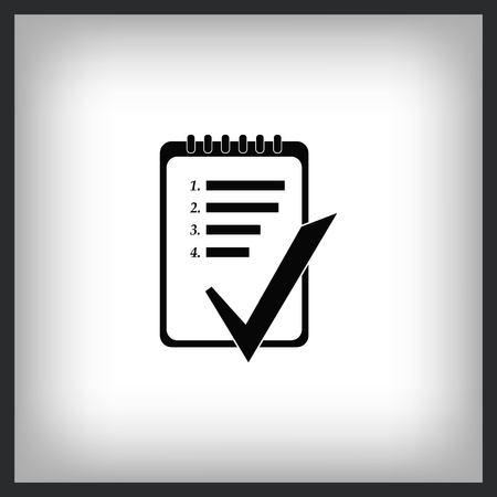 Notebook checklist  icon, vector illustration. Illustration