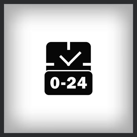 24 hour service icon, vector illustration. Flat design style.