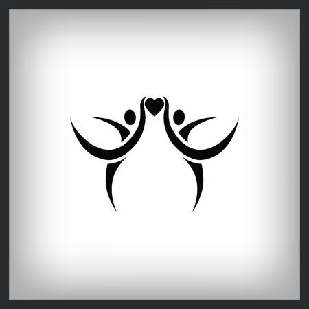 Family icon, vector illustration. Flat design style Иллюстрация