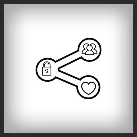 content sharing icon, vector illustration. Flat design style