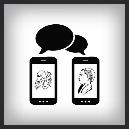 Communication through handphone icon vector illustration.