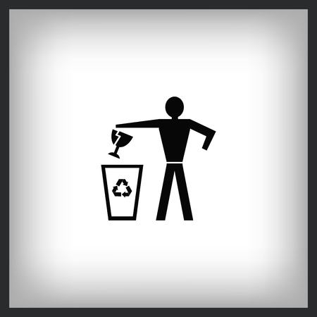 Throw away the trash icon, recycle icon  イラスト・ベクター素材