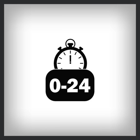 24 hour service icon vector illustration. Flat design style. 向量圖像