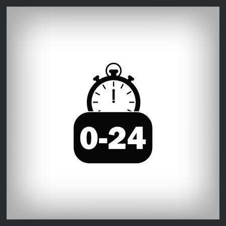 24 hour service icon vector illustration. Flat design style. Illustration