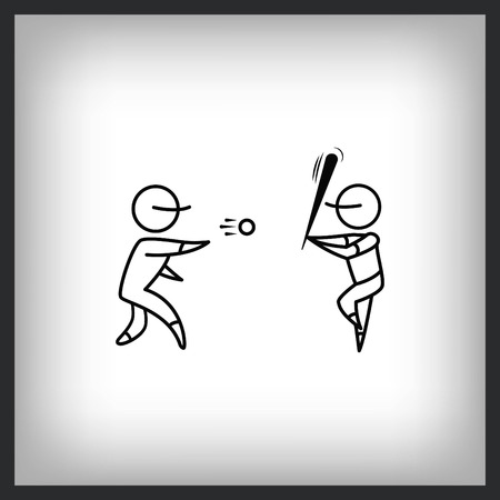 Baseball players icon , vector illustration. Flat design style.