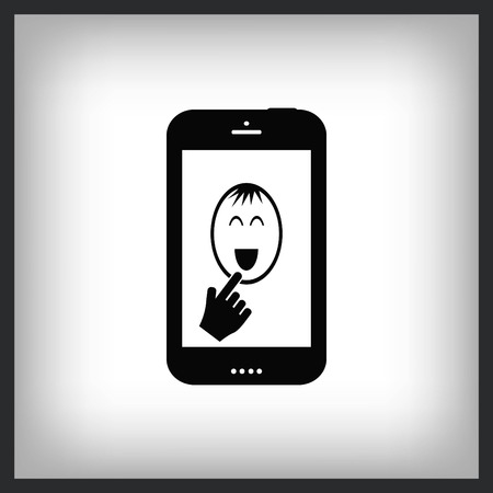 phone icon with smiley face , vector illustration. Vettoriali