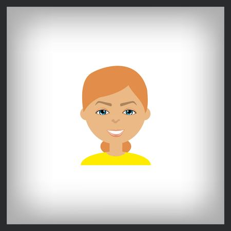 stylish avatar of girl in flat design. Vector illustration