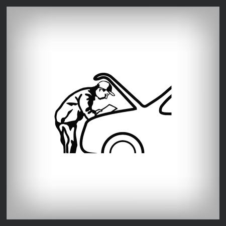 Automotive repair, Car Mechanic Vector Icon. Ilustrace