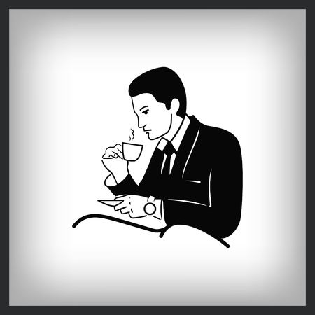 Businessman drinking coffee and tea while reading the newspaper. Vector illustration. Çizim