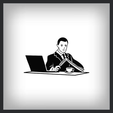 A man in a suit reads the document at the table. Businessman close to a laptop. Vector illustration.