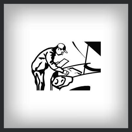 Automotive repair, Car Mechanic Vector Icon. Ilustrace