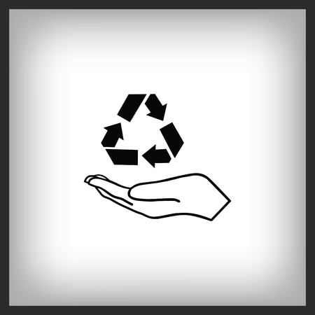recycle icon with hand Çizim