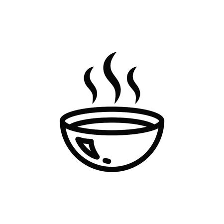 Hot soup, lunch icon. Illustration