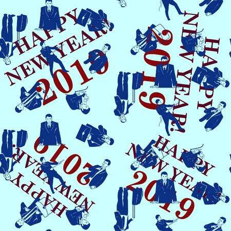 Pattern. Silhouette of athletic men. Beauty, glamor. Businessman. Congratulations on the New Year 2019.