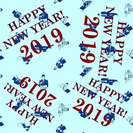 Pattern. Silhouette of athletic men. Beauty, glamor. Businessman. Congratulations on the New Year 2019. Vecteurs