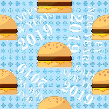 burger, pattern, endless pattern. Congratulations on the New Year 2019. Snowflakes.