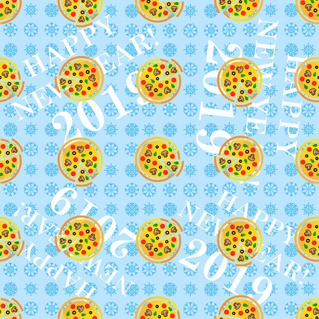pizza, pattern, endless drawing. Congratulations on the New Year 2019. Snowflakes.