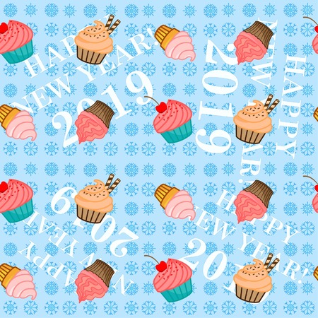 Cakes, pattern, endless pattern. Congratulations on the New Year 2019. Snowflakes. Illustration