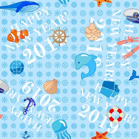 Pattern Cute Squid, Anchor, Shell, Medusa, Starfish Cartoon vector illustration. Congratulations on the New Year 2019. Snowflakes. Illustration