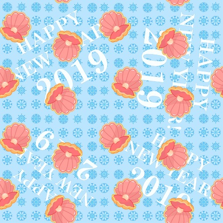 sea ??shell with pearl. Congratulations on the New Year 2019. Snowflakes. Pattern