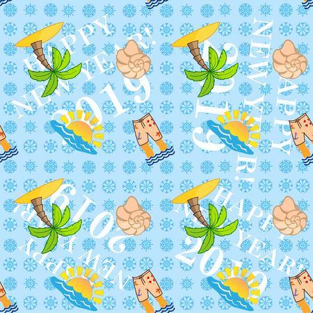 Pattern Cute Squid, Anchor, Shell, Medusa, Starfish Cartoon vector illustration. Congratulations on the New Year 2019. Snowflakes. Illustration