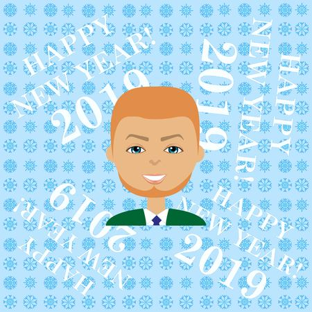 stylish avatar of guy in flat design. Vector illustration