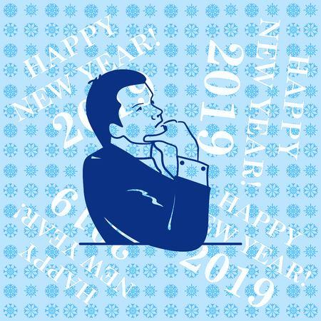 Businessman ponders a strategic plan, tactical solutions. Illustration